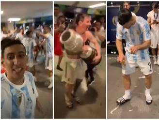 VIDEO. Uitzinnige vreugde in de Argentijnse kleedkamer, Messi danst met de beker