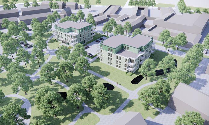 Impressie van de nieuwe appartementencomplexen in Sint-Maartensdijk.