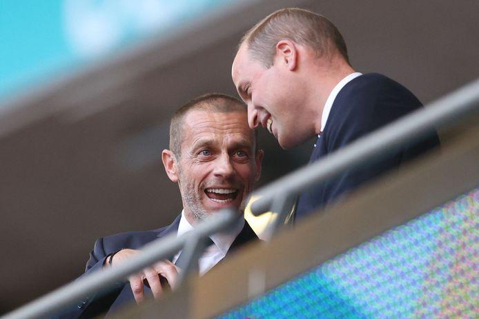 Le Président de l'UEFA, Aleksander Ceferin, aux côtés du Prince William.