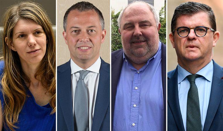 De vier kandidaten voor het voorzitterschap van Open Vld. Beeld BELGA