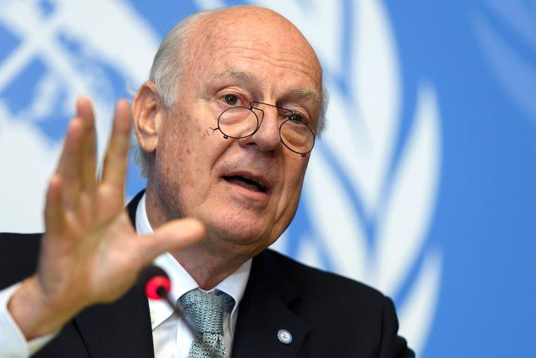 Staffan de Mistura, VN-gezant voor Syrië. Beeld AP