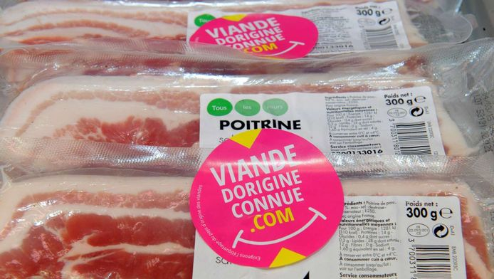 Actie in Frankrijk eerder deze week om mensen bewust te maken van de oorsprong van het vlees dat ze kopen. Op de pakjes stond te lezen: Vlees van onbekende oorsprong.