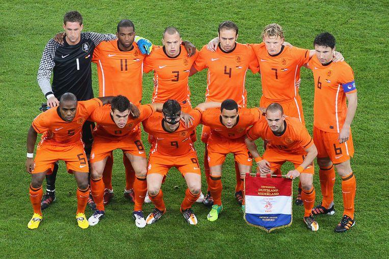 Oranje voor het oefenduel met Duitsland. Beeld getty