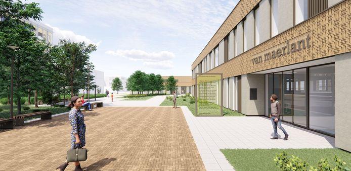De hoofdentree van het Van Maerlant, te bereiken via de Onderwijsboulevard.
