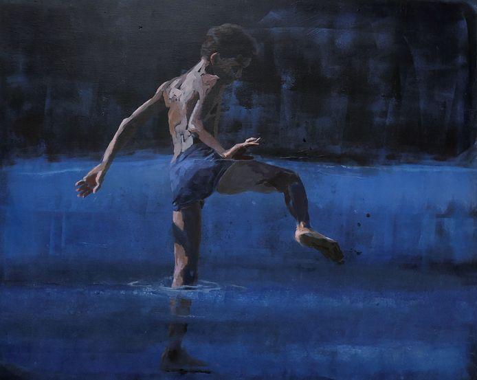 'Dance', doek van Mitzy renooy, 2019, 90x110 cm.