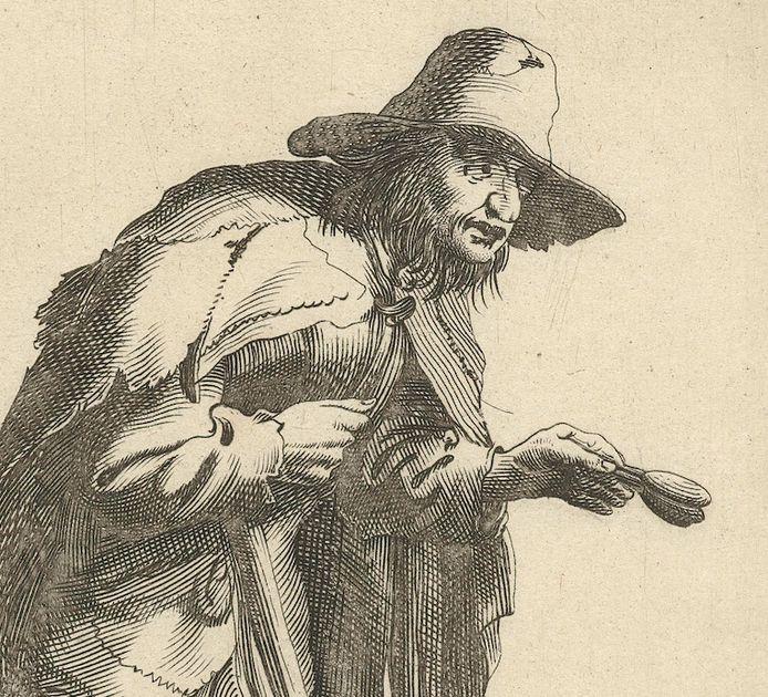 Een melaatse bedelaar. Fragment van een ets door Pieter Jansz. Quast uit 1634.