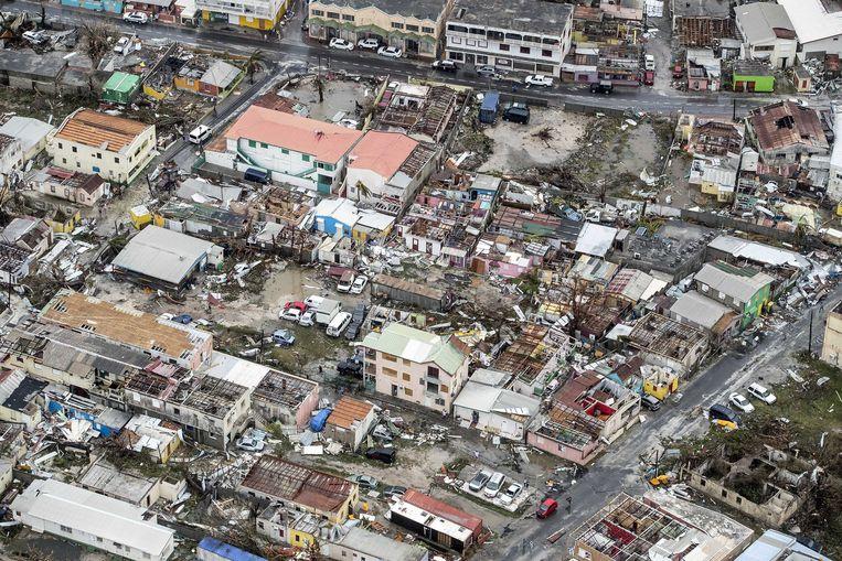 2017-09-06 21:53:37 PHILIPSBURG - Luchtfotografie van de schade op Sint-Maarten van orkaan Irma. De NH90 helikopter van Zr. Ms. Zeeland een eerste verkenningsvlucht gevlogen over de eilanden Saba, Sint Eustatius en Sint Maarten. ANP HANDOUTS MINISTERIE VAN DEFENSIE / GERBEN VAN ES **NO ARCHIVE, NO SALE, EDITORIAL USE ONLY** Beeld ANP Handouts