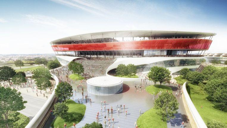 Grafische impressie van hoe het nieuwe Eurostadion eruit moet zien. Beeld belga