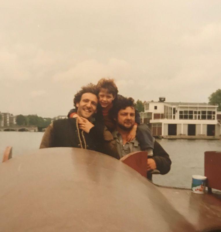 Huib Winkel met zoon Jasper en beste vriend Huig de Groot Beeld Privé-archief