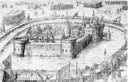 Een tekening van het beleg van het kasteel van Wouw in 1583.