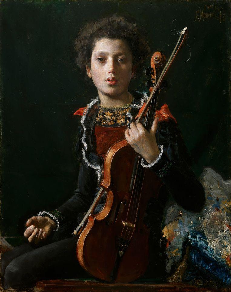 Antonio Mancini, 'Acrobaat met viool (Portret van Luigi Gianchetti)', 1878, Kunsthandel Bottegantica, Milaan Beeld Kunsthandel Bottegantica
