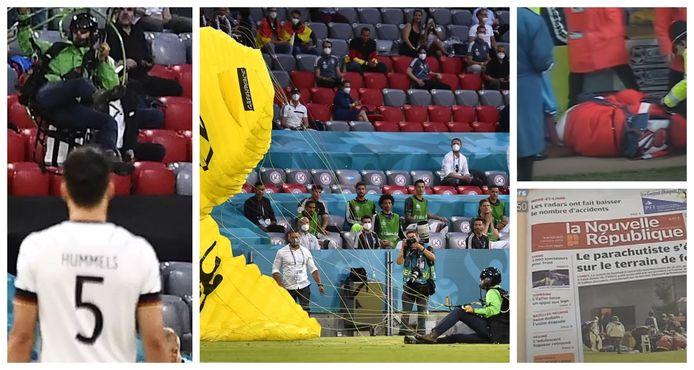 Foto's links en midden: een parachutist van Greenpeace verstoorde dinsdagavond de EK-wedstrijd Duitsland-Frankrijk in München. Foto's rechts: eerdere fout gelopen parachutestunts.