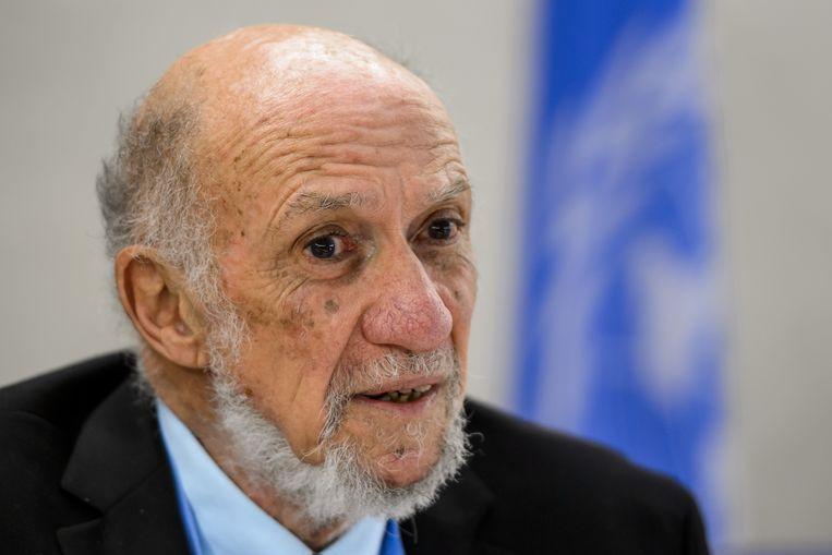 Richard Falk, gewezen rapporteur over de mensenrechten in de Palestijnse gebieden voor de VN. Beeld AFP