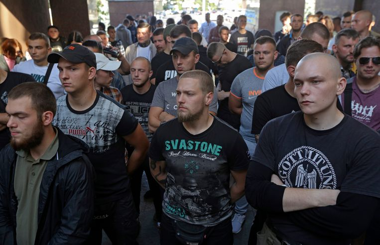 Oekraïense activisten protesteren tegen de vrijlating van Tsemach. Beeld EPA