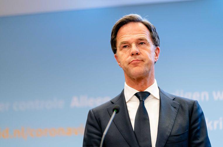 Premier Mark Rutte tijdens een persconferentie over het coronavirus. Beeld ANP