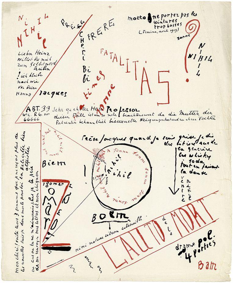Eerste proefdrukvel van de handschriftenpagina uit de bundel 'Bezette stad', te zien op de expo. Beeld Bezette Stad 100!