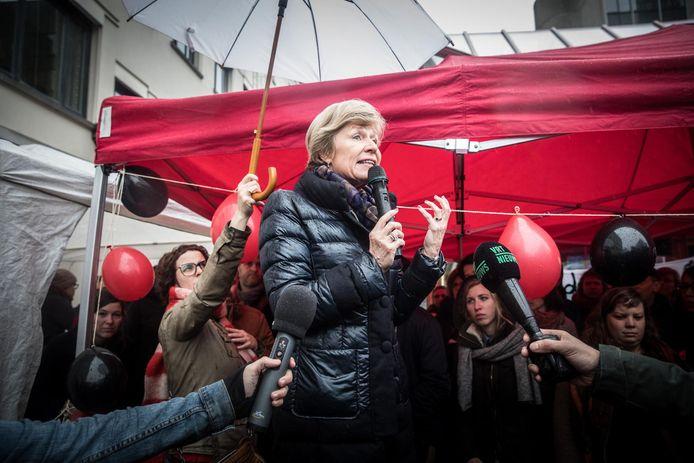 UGent-rector Anne De Paepe sprak de vrouwen toe.