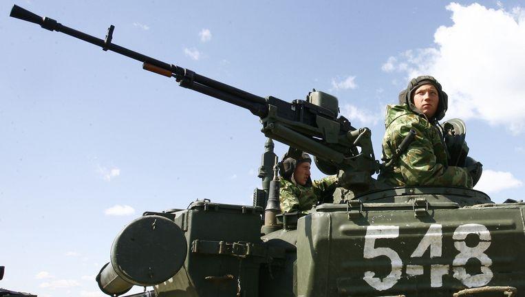Russische troepen namen op 3 april deel aan een militaire oefening in de Volgograd-regio. Beeld AFP