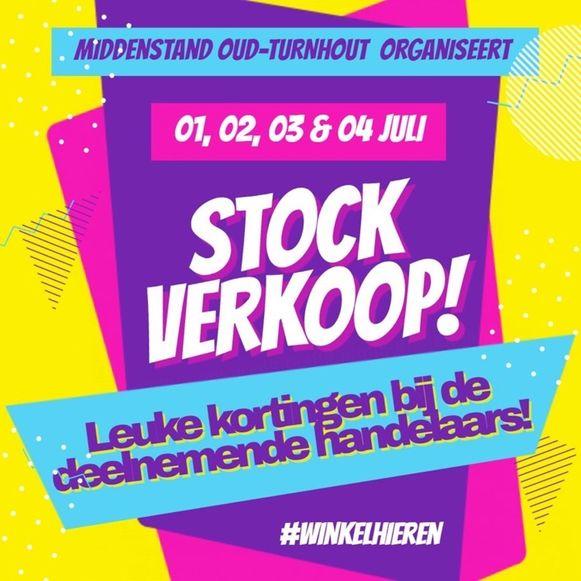 De affiche van de stockverkoop van 1 tot 4 juli.