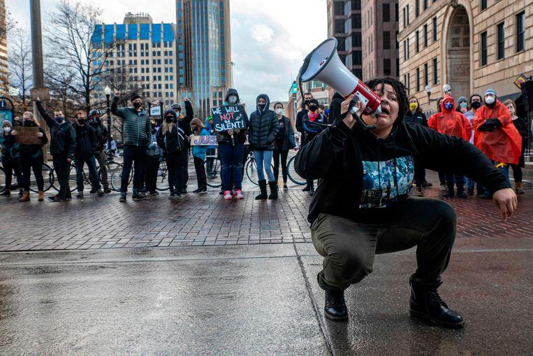 Demonstranten vragen aandacht voor het lot van Casey Goodson in Columbus op 12 december. Beeld AFP