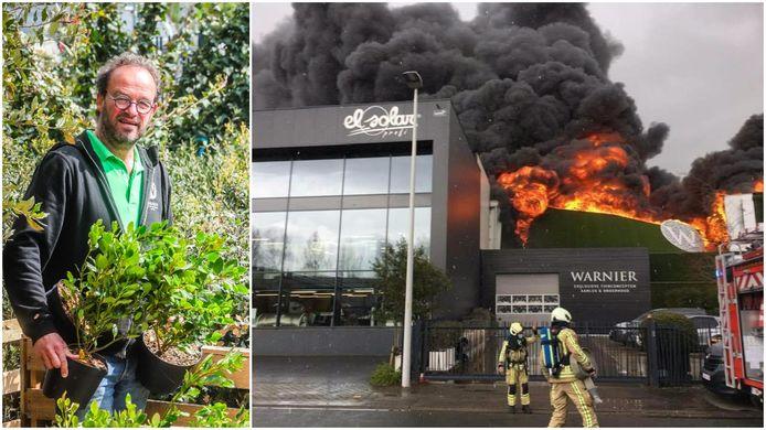 Links: tuinbouwer Henk Warnier.Rechts: De brand in het tuinbedrijf veroorzaakte een ravage.