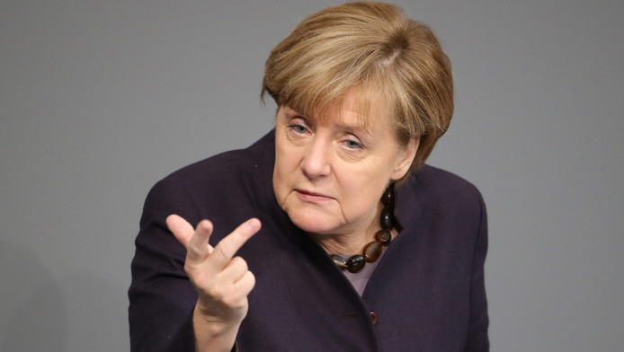 Angela Merkel tijdens haar speech voor het Duitse parlement