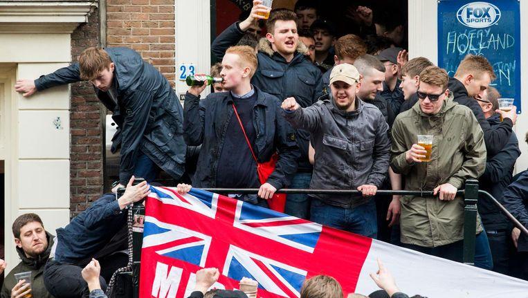 De hooligans waren in Amsterdam voor een oefeninterland tussen Engeland en Nederland. Beeld anp