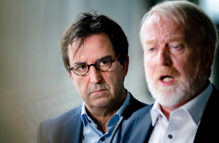 Diederik Gommers, anesthesioloog-intensivist in het Erasmus MC, en Jaap van Dissel  van het RIVM zijn onder de belangrijkste deskundigen waarop het kabinet het beleid in de coronacrisis baseert.  Beeld ANP