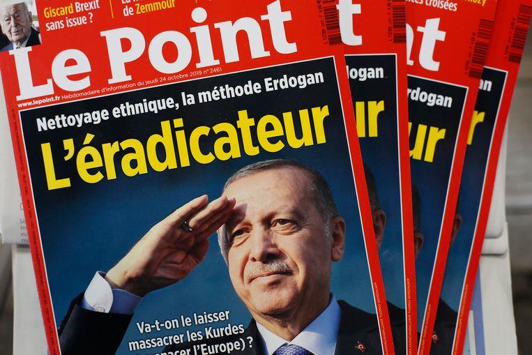 Voor deze cover van 'Le Point' dient Erdogan een klacht in. Beeld AP