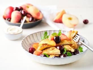 Hartverwarmend ontbijtje: wentelteefjes met warm fruit en mascarpone