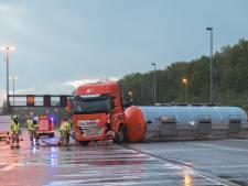 Tankwagen met karamel gekanteld op Antwerpse Ring: drie rijstroken opnieuw vrijgegeven, maar nog veel hinder