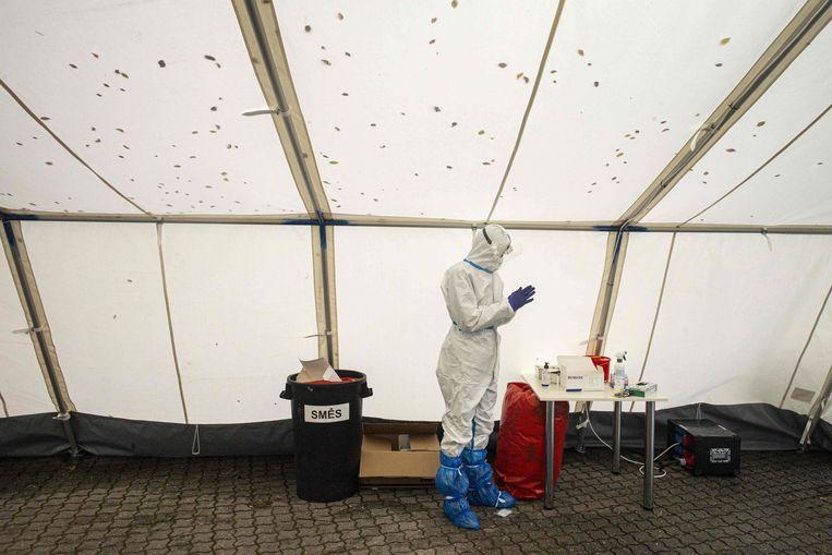Een teststraat in Praag. Beeld AFP