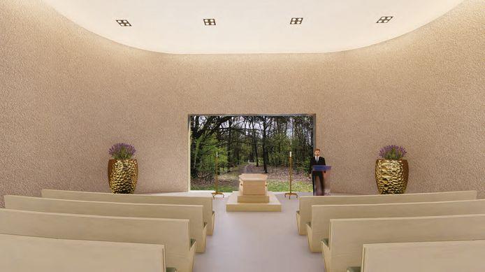 De aula met 140 zitplaatsen en uitzicht op het bos.