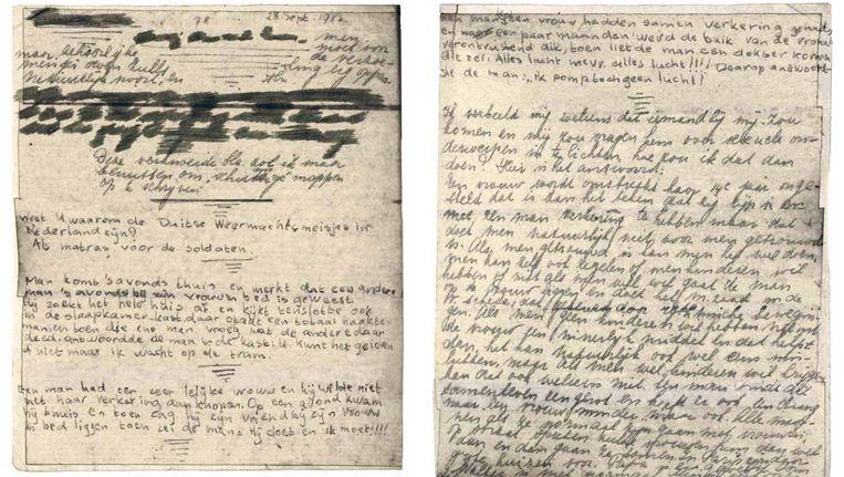 De twee onbekende paginas Beeld Anne Frank Stichting