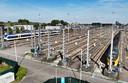 Het rangeerterrein voor NS treintoestellen op de Cartesiusweg.