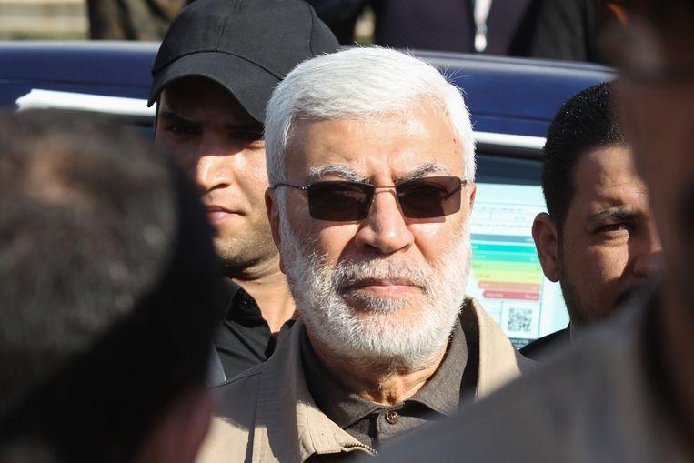 Vicecommandant van de militiegroepering Popular Mobilization Forces Abu Mahdi al-Muhandis, die eveneens omkwam bij de aanval op het vliegveld van Bagdad. Beeld AFP