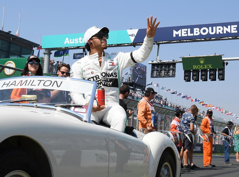 Lewis Hamilton in 2019 voorafgaand aan de eerste Grand Prix van het nieuwe seizoen in Australië.