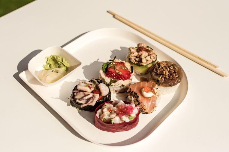 Zes stuks sushi? Da's €18,40. Beeld Tine Schoemaker