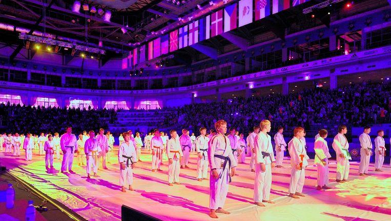 De judoka's tijdens de openingsceremonie van het EK in Rusland. Beeld GETTY