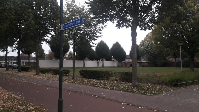 Het parkje waar ooit een peuterspeelzaal stond aan het Grobbendonckpark.