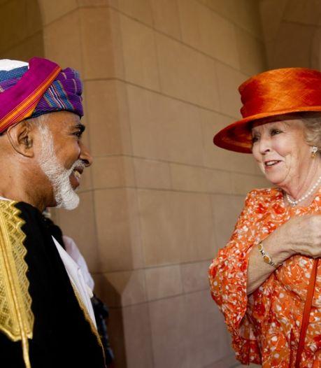 Opgewekte sultan Oman ontvangt koningin Beatrix