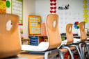 Een lege basisschoolklas