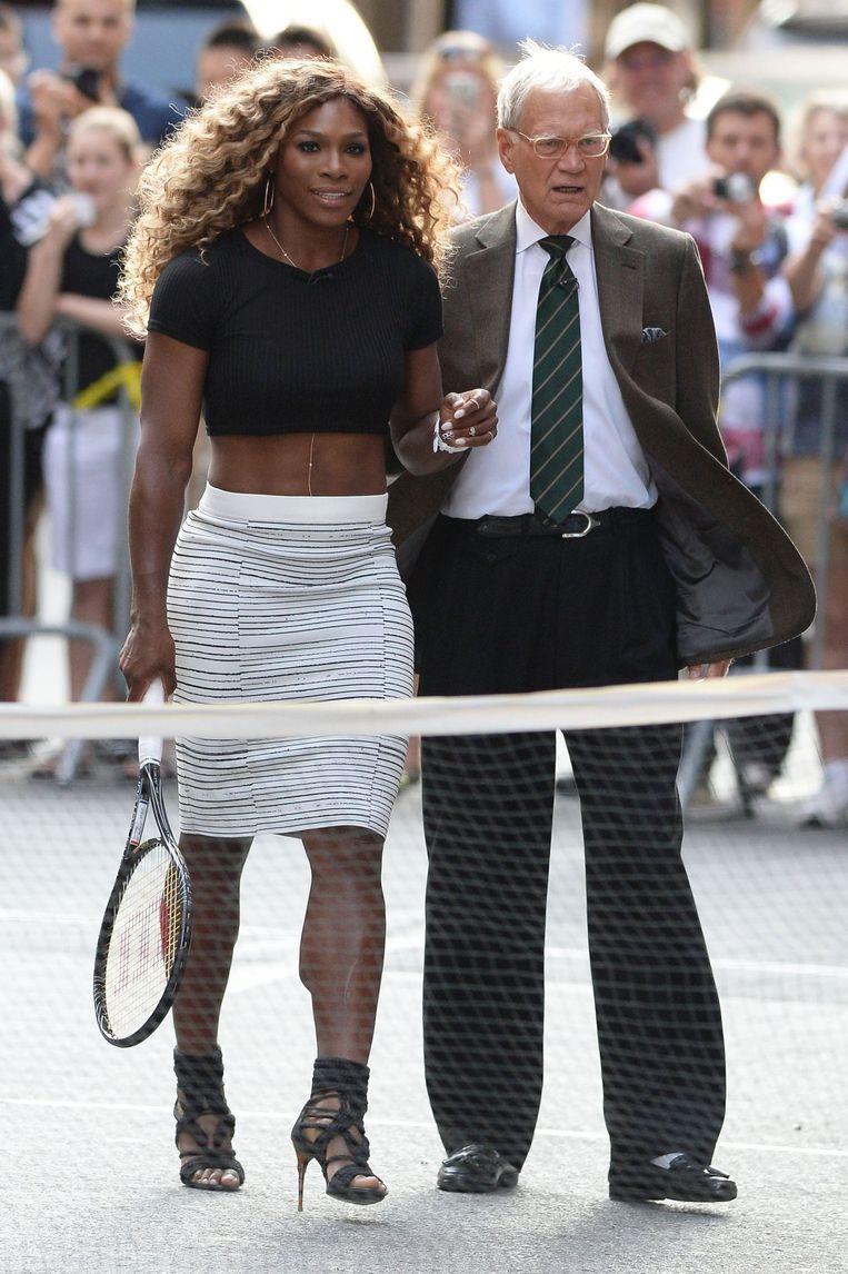 Serena naast David Letterman. Beeld PHOTO_NEWS
