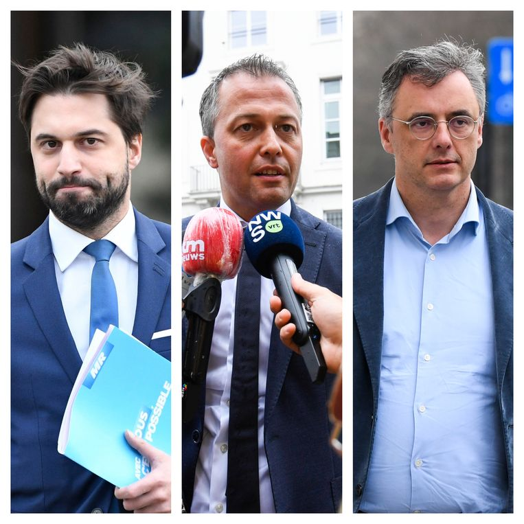 Partijvoorzitters Georges-Louis Bouchez (MR), Egbert lachaert (Open Vld) en Joachim Coens (CD&V). Beeld DM