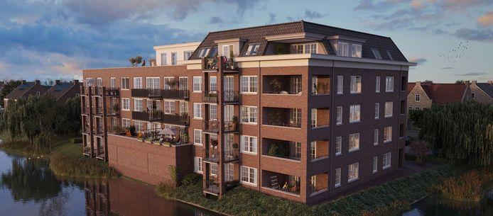 Appartementengebouw Weidezicht in de wijk De Brinkhorst zoals het er straks uitziet.
