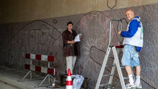 Inwoners en kunstenaar geven obscure Zutphense tunnel make-over: 'Vette tekeningen, mevrouw!'