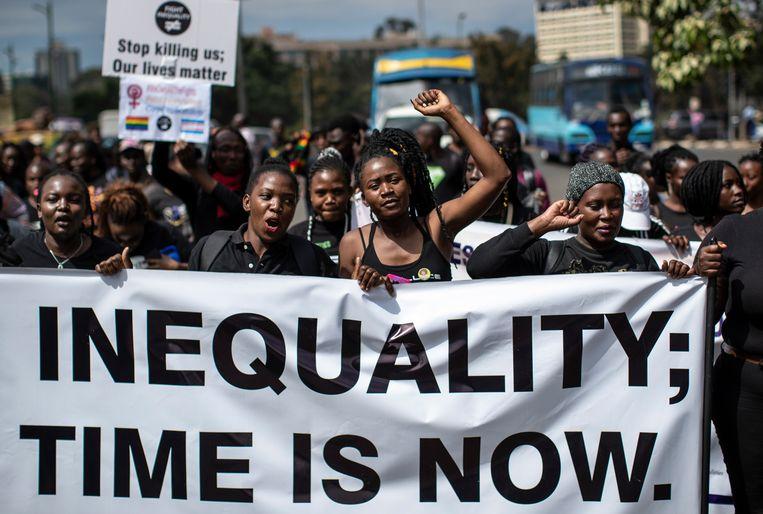 In Kenia komen mensen op straat om een einde te maken aan de grote ongelijkheid. Beeld AP