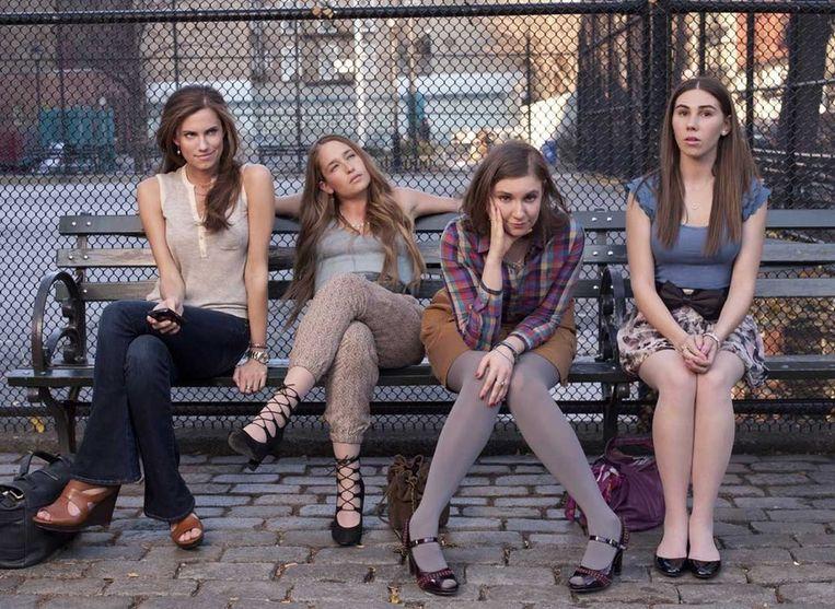 De cast van Girls, met Lena Dunham, tweede van rechts Beeld