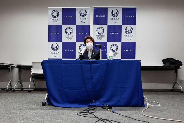 Seiko Hashimoto, voorzitter van het organisatiecomité van de Olympische Spelen, op een persconferentie.  Beeld AFP