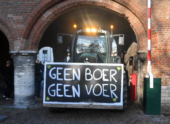 In december voerden boeren actie op het Abdijplein in Middelburg.